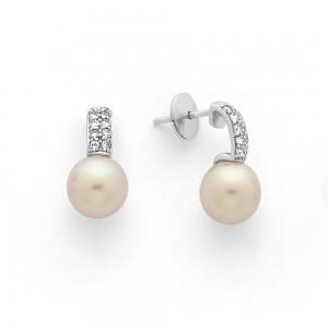 Boucles d'oreilles Perles de culture Akoya Japon ronde 8-8,5mm et Diamants-1