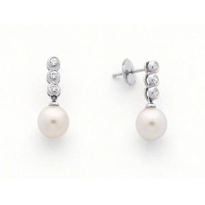 Boucles d'oreilles Perles de culture Akoya Japon ronde 8-8,5mm Diamants-7