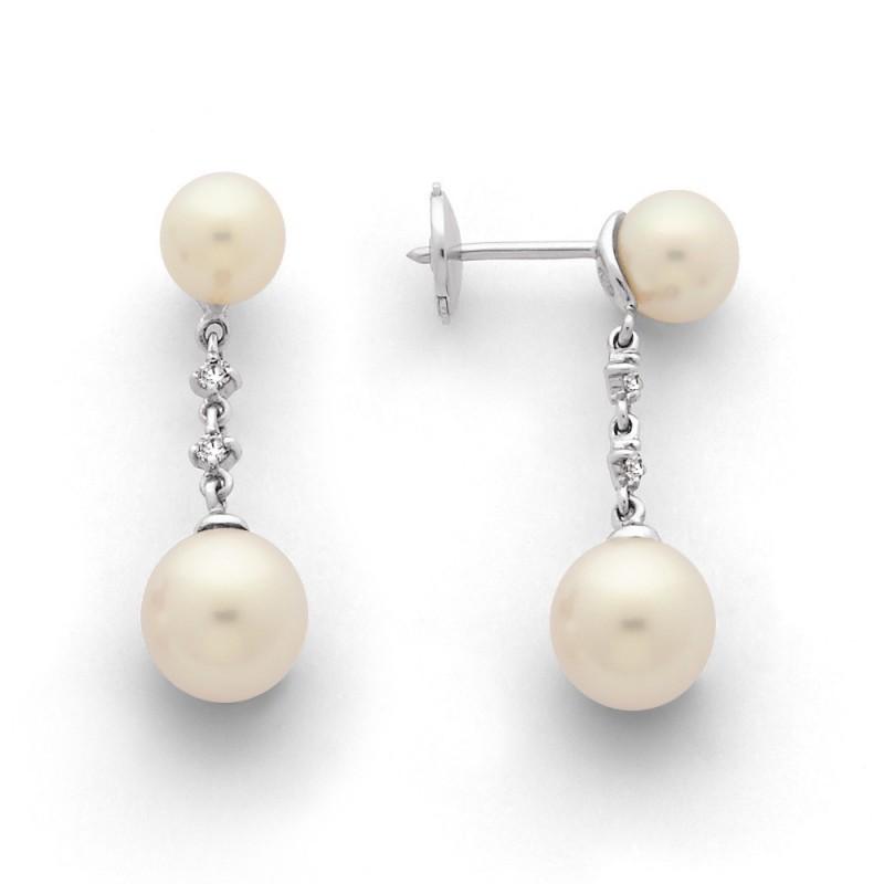 Boucles d'oreilles Perles de culture Akoya Japon ronde 6-6,5 et 7,5-8mm Or blanc