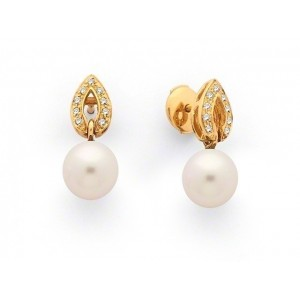 Boucles d'oreilles Perles de culture Akoya Japon ronde 8-8,5mm Diamants-8