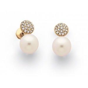 Boucles d'oreilles Perles de culture Akoya Japon ronde 8-8,5mm Diamants-9