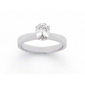 Solitaire Diamant taille ovale 0,78 Carat F VS1 4 griffes Or blanc