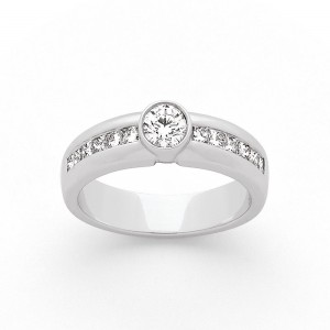 Solitaire Diamant 0,53 Carat G SI serti clos accompagné 0,22 Carat Or blanc
