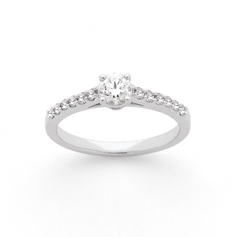 Solitaire Diamant 0,30 Carat D SI2 4 griffes accompagné 0,17 Carat Or blanc