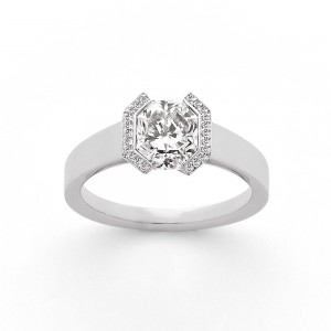 Solitaire Diamant taille Lucére® 1,54 Carat H SI2 accompagné Or blanc