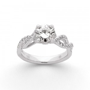Solitaire Diamant 1,04 Carats G SI1 4 griffes accompagné 0,40 Carat Or blanc