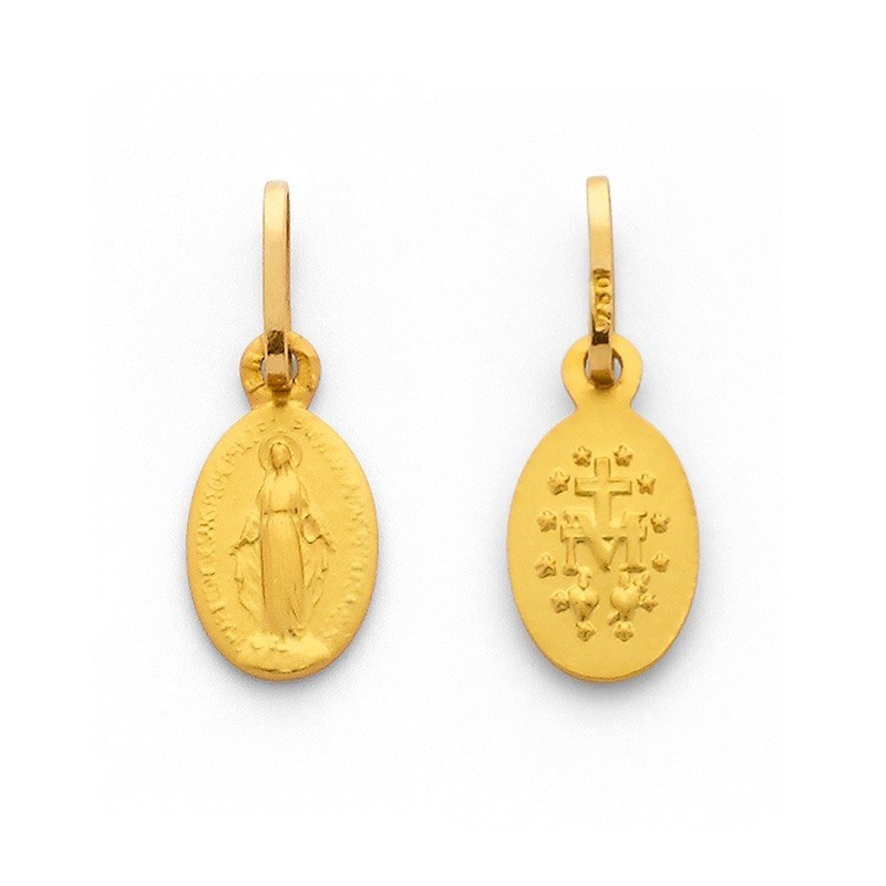 Médaille Vierge miraculeuse Ovale 10mm Or jaune