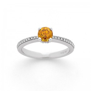 Solitaire Diamant 0,66 Carat Fancy Yellow 4 griffes accompagné 0,13 CaratOr blan