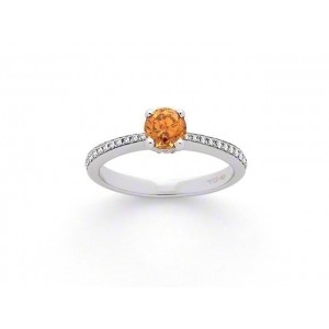 Solitaire Diamant 0,61 Carat Fancy Yellow 4 griffes accompagné 0,11 CaratOr blan