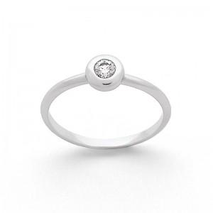 Solitaire Diamant 0,12 Carat G SI serti clos Or blanc