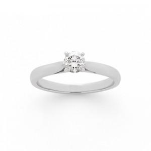 Solitaire Diamant 0,37 Carat F VS2 4 griffes Platine