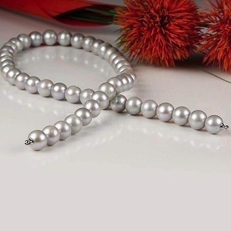 Collier Perles de culture Chocker grises traitées 9-10mm