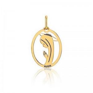 Médaille Augis vierge ovale ajourée polie brillant Or jaune