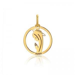 Médaille Augis vierge ajourée polie brillant 15mm Or jaune