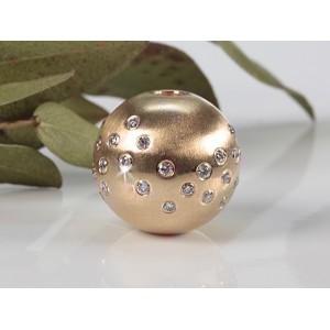 Fermoir interchangeable Diamants parsemés boule 14mm or rose