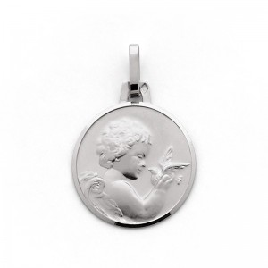 Médaille Ange à la colombe 16mm Or blanc