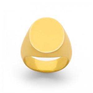 Chevalière Homme ovale massive 17x17 mm Or jaune