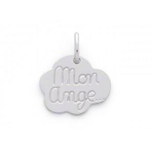"Pendentif jeton  nuage ""Mon ange"" Or blanc"