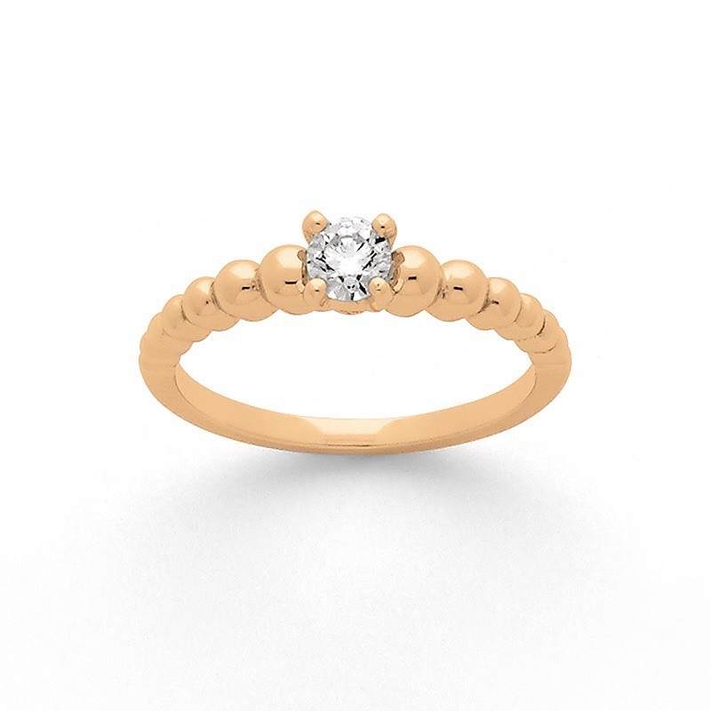 Solitaire Diamant 0,16 Carat H SI 4 griffes boule Or rose