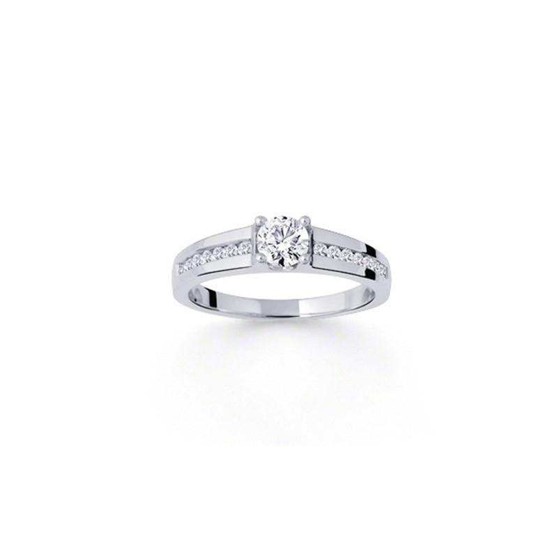 Solitaire Diamant 0,30 Carat H SI1 4 griffes accompagné 0,13 Carat Or blanc