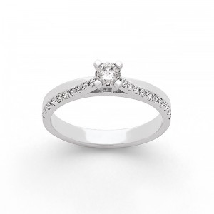 Solitaire Diamant 0,20 Carat H SI 4 griffes accompagné 0,16 Carat Or blanc