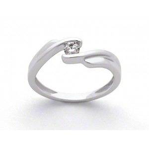 Solitaire Diamant 0,14 Carat G SI double corps Or blanc