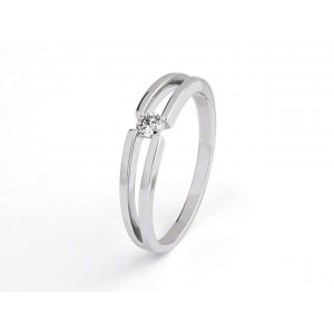 Solitaire Diamant 0,08 Carat G SI corps double Or blanc