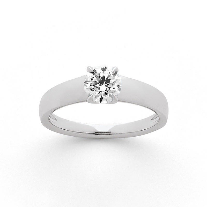 Solitaire Diamant 0,74 Carat F SI1 4 griffes Or blanc