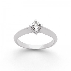 Solitaire Diamant 0,29 Carat H VS2 4 griffes Or blanc