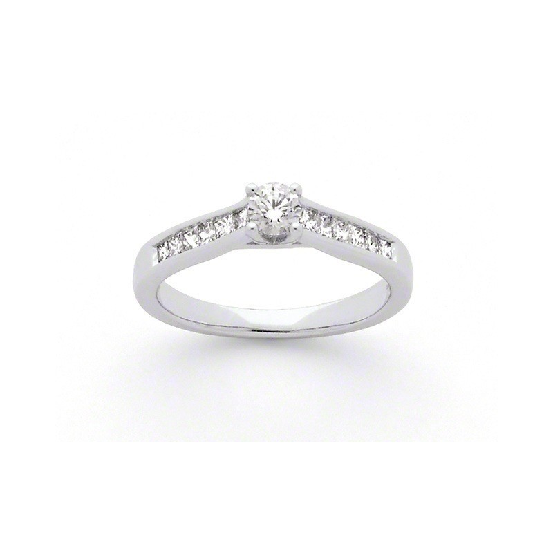 Solitaire Diamant 0,23 Carat G SI 4 griffes accompagné 0,34 Carat Or blanc