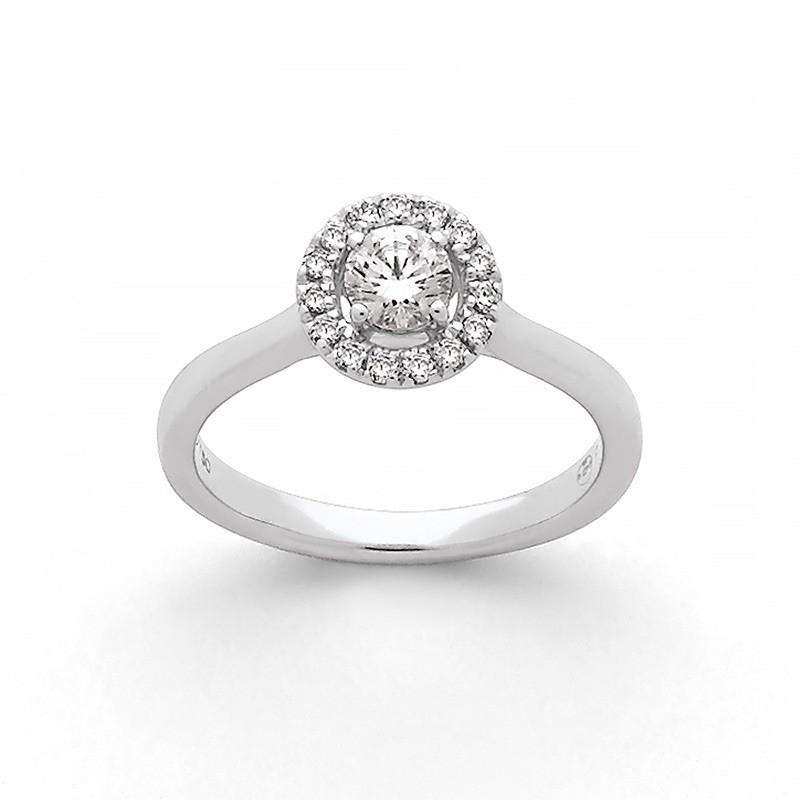 Solitaire Diamant 0,25 Carat G SI 4 griffes entourage 0,12 Carat Or blanc