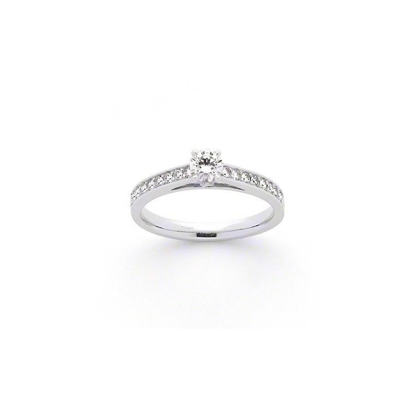 Solitaire Diamant 0,30 Carat F VS1 4 griffes accompagné 0,25 Carat Or blanc