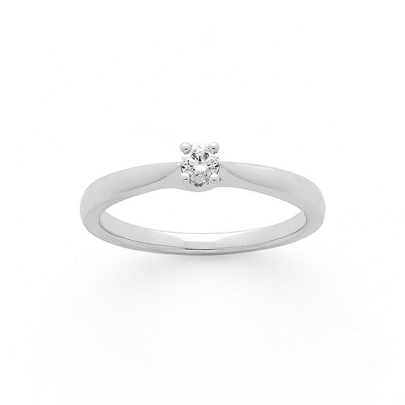 Solitaire Diamant 0,11 Carat G SI2 4 griffes croisées Or blanc