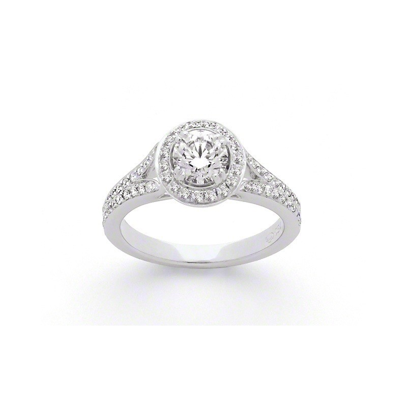Solitaire Diamant 0,73 Carats E SI1 4 griffes accompagné 0,42 Carat Or blanc