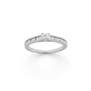 Solitaire Diamant 0,40 Carat F SI2 4 griffes accompagné 0,16 Carat Or blanc