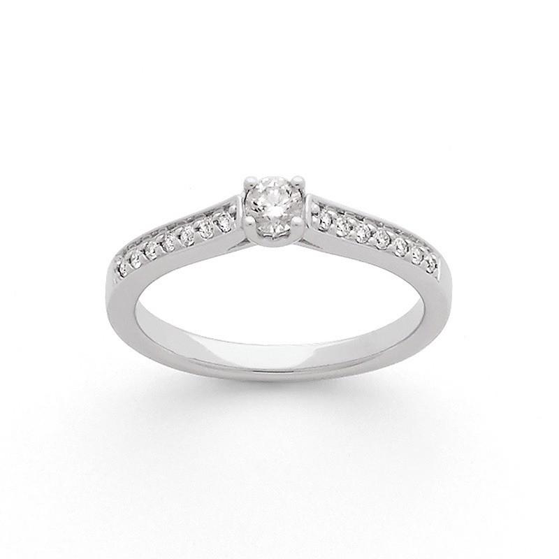 Solitaire Diamant 0,15 Carat H SI 4 griffes accompagné 0,10 Carat Or blanc