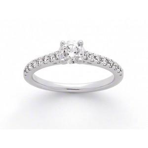 Solitaire Diamant 0,42 Carat E SI2 4 griffes accompagné 0,27 Carat Or blanc