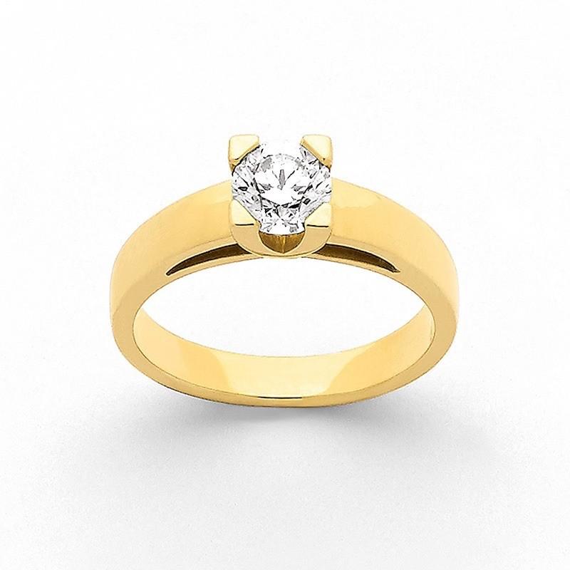 Solitaire Diamant 0,71 Carat G VS2 4 griffes carrées Or jaune