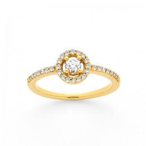 Solitaire Diamant 0,15 Carat G SI 4 griffes accompagné 0,17 Carat Or jaune