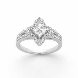 Bague Diamants 0,72 Carat H SI 4 princesses Etoile Or blanc