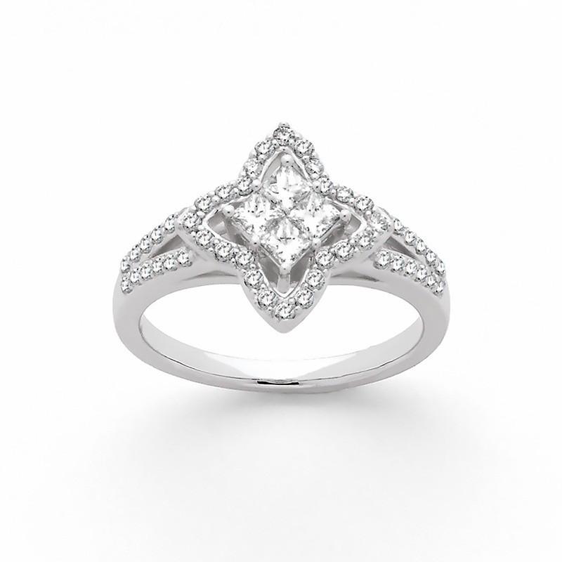 Bague Diamants 0,72 Carat H SI 4 princesses Etoile Or blanc