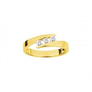 Bague Trilogie Diamants 0,24 Carat G SI Or jaune