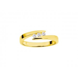 Bague Trilogie Diamants 0,12 Carat G SI Or jaune