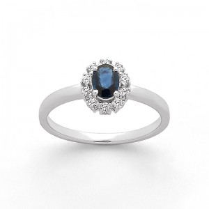 Bague Saphir 0,34 Carat entourage Diamants 0,14 Carat H SI Or blanc