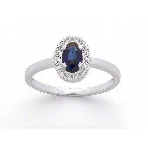 Bague Saphir 0,59 Carat entourage Diamants 0,12 Carat H SI Or blanc