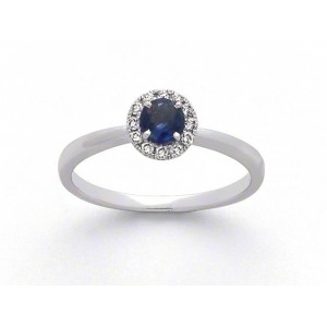 Bague Saphir 0,37 Carat entourage Diamants 0,09 Carat G SI Or blanc