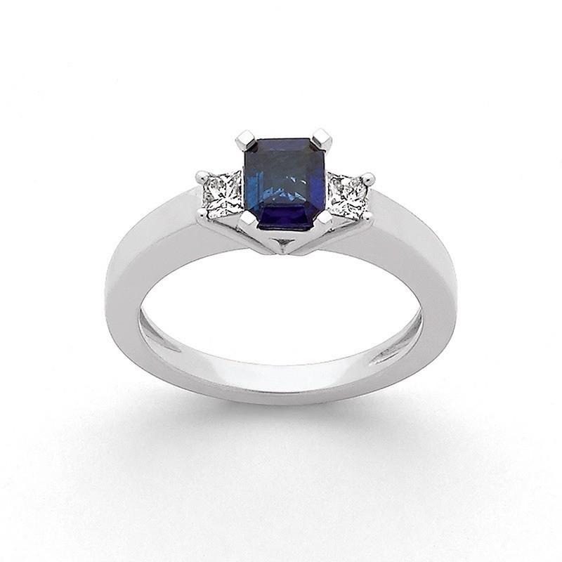 Bague Saphir 0,74 Carat et Diamants 0,20 Carat F VS Or blanc