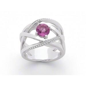 Bague Saphir rose 1,24 Carats et Diamants 0,17 Carat G SI Or blanc