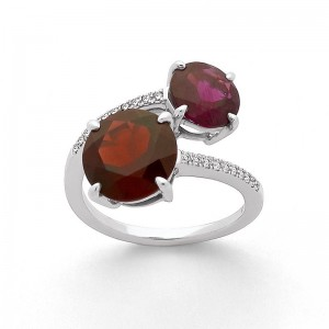 Bague Grenat Almandin, Rhodolite en duo et Diamants 0,10 Carat Or blanc