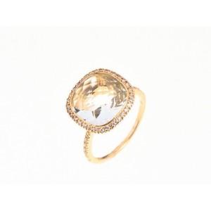 Bague Prasiolite 4,51 Carats taille coussin briolettée et Diamants Or jaune